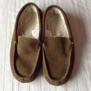 LEATHER BROWN SLIPPERS MEN SIZE 10